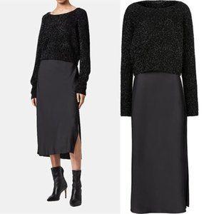 Allsaints Black Rosetta Tinsel Sweater Slip Dress 2-In-1 Sz M
